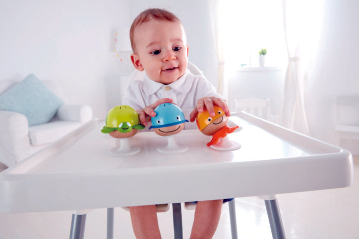 Hape Stay-put Rattle Set, a first musical instruments for babies, perfect for making music The Toy Wagon