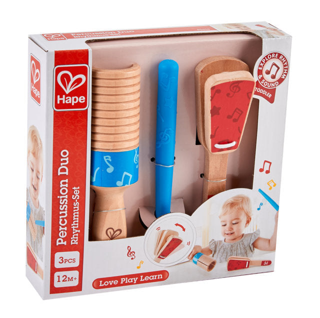 Hape Percussion Duo, a first musical instruments for babies, perfect for making music The Toy Wagon