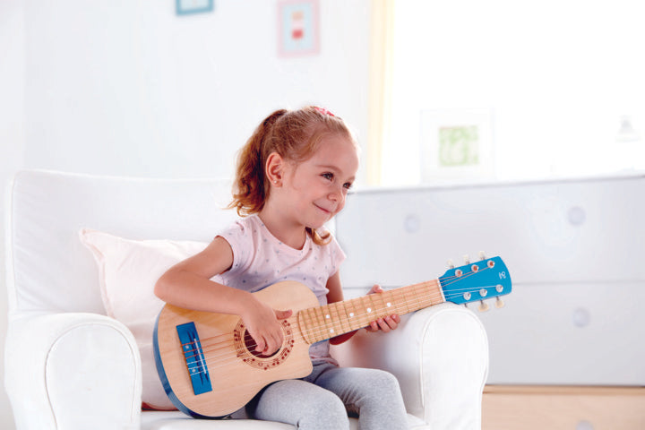 Hape Blue Lagoon Guitar a great first musical instrument for children The Toy Wagon