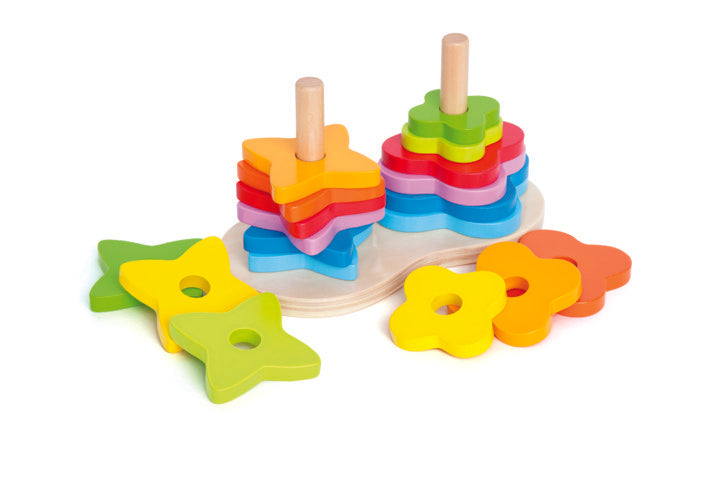 Hape Double Rainbow Stacker is a fun stacking toy for kids hand eye co-ordination The Toy Wagon