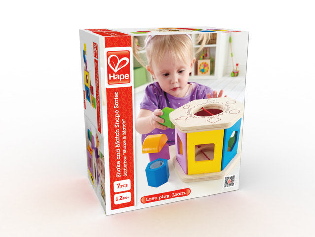 Hape Shake and Match Shape Sorter is a fun toy for kids to help with hand and eye co-ordination The Toy Wagon