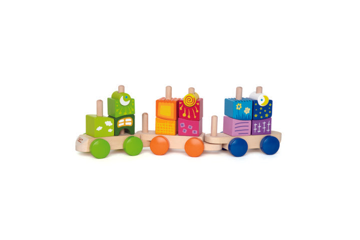 Hape Fantasia Blocks Train for kids uniquely shaped blocks with enchanting patterns inspire building in a whole new way for kids The Toy Wagon