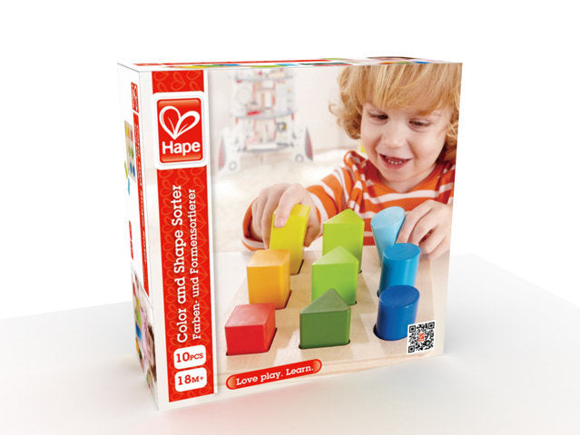 Hape Color and Shape Sorter multi-tasking sorter encourages counting, sorting, and color and shape identification The Toy Wagon