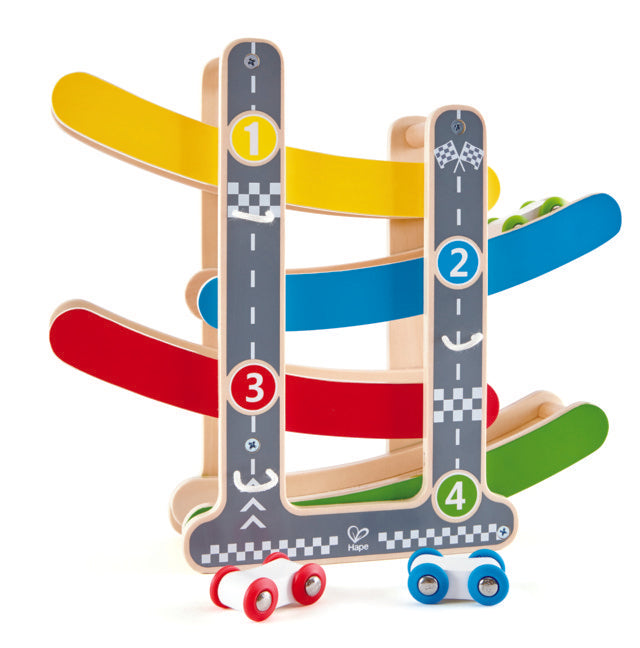 Hape Fast Flip Racetrack watch your race cars flip over one another as they come racing down The Toy Wagon