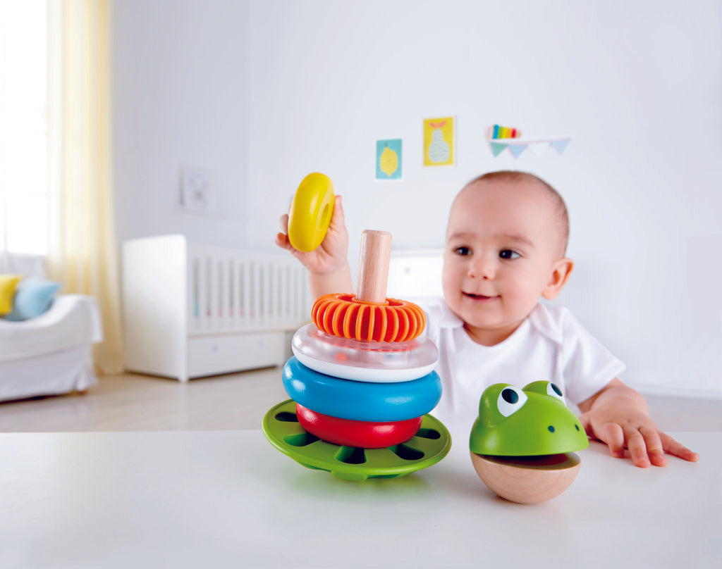 Hape Mr Frog Stacking Rings will help children learn about colors, counting and sounds The Toy Wagon