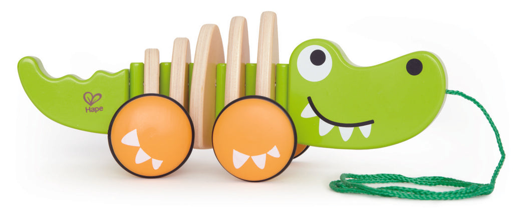 Hape Walk-A-Long Croc wooden push or pull along toy for babies The Toy Wagon
