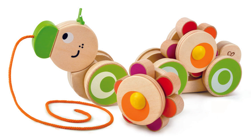 Hape Walk-A-Long Caterpillar wooden push or pull along toy for babies The Toy Wagon