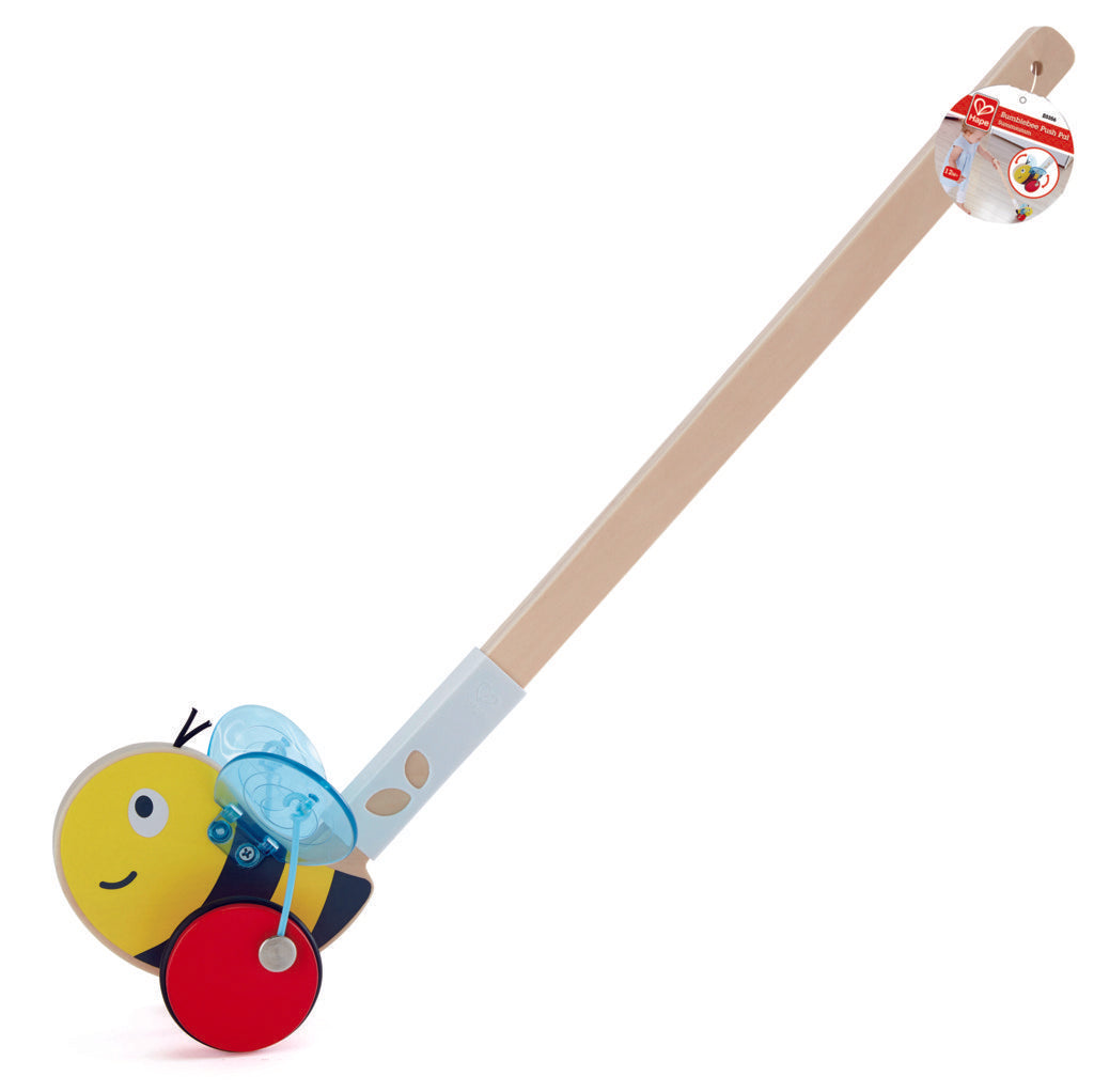 Hape Bumblebee wooden push or pull along toy for babies The Toy Wagon