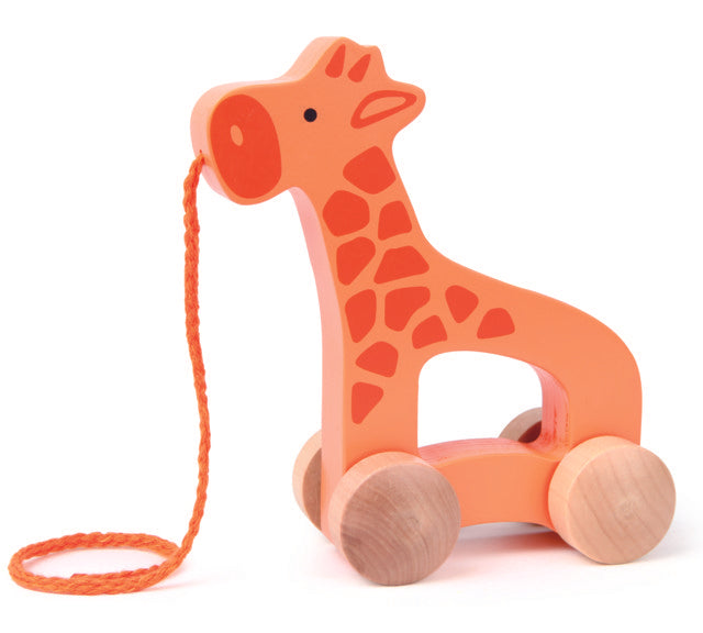 Hape Giraffe wooden push or pull along toy for babies The Toy Wagon