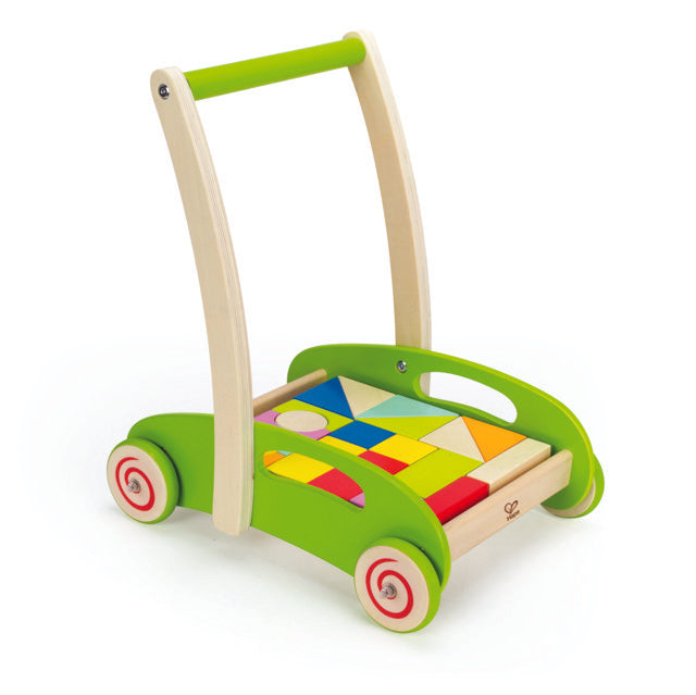 Hape Block and Roll wooden walker promotes dexterity, hand eye coordinations, and manipulations The Toy Wagon