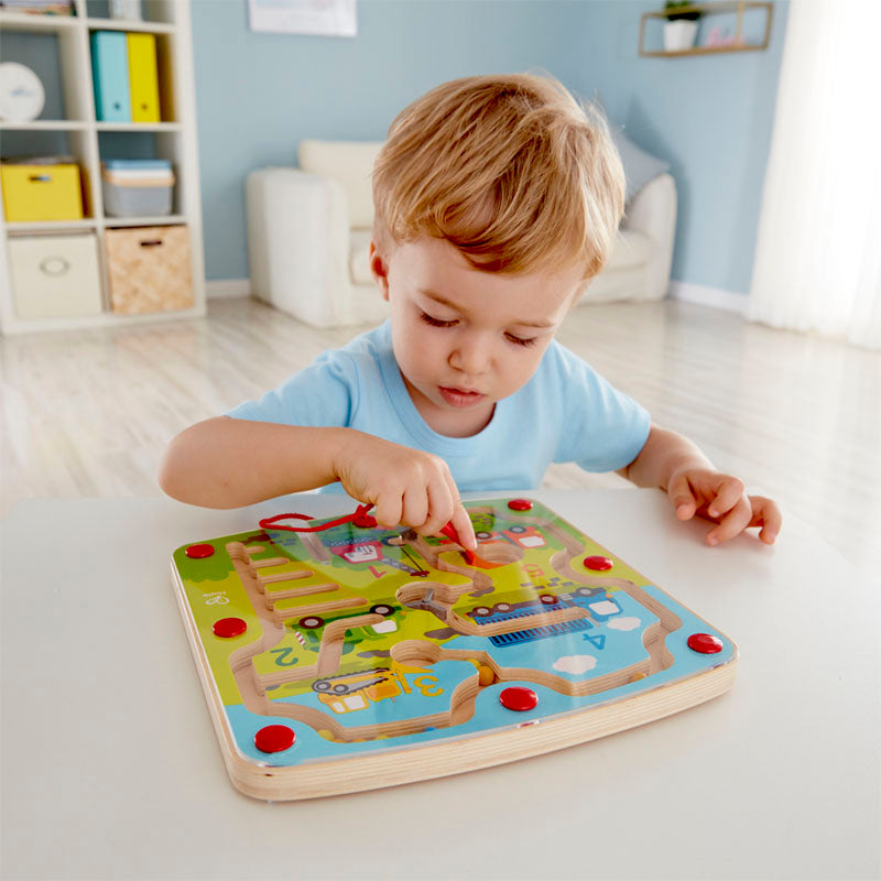 Hape Construction & Number Maze Puzzle promotes dexterity, hand/eye coordination, and manipulation with woodend educational toys The Toy Wagon