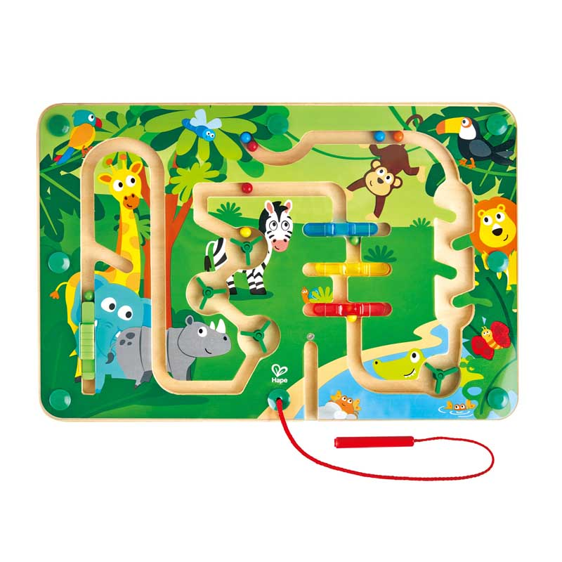 Hape Jungle Maze Puzzle promotes dexterity, hand/eye coordination, and manipulation with woodend educational toys The Toy Wagon