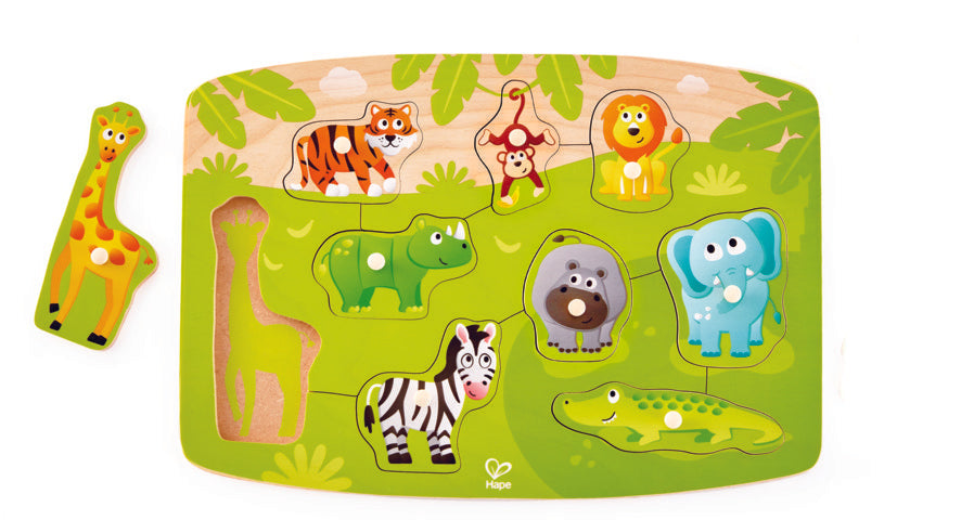 Hape Jungle Peg Puzzle wooden for little hands educational toys The Toy Wagon