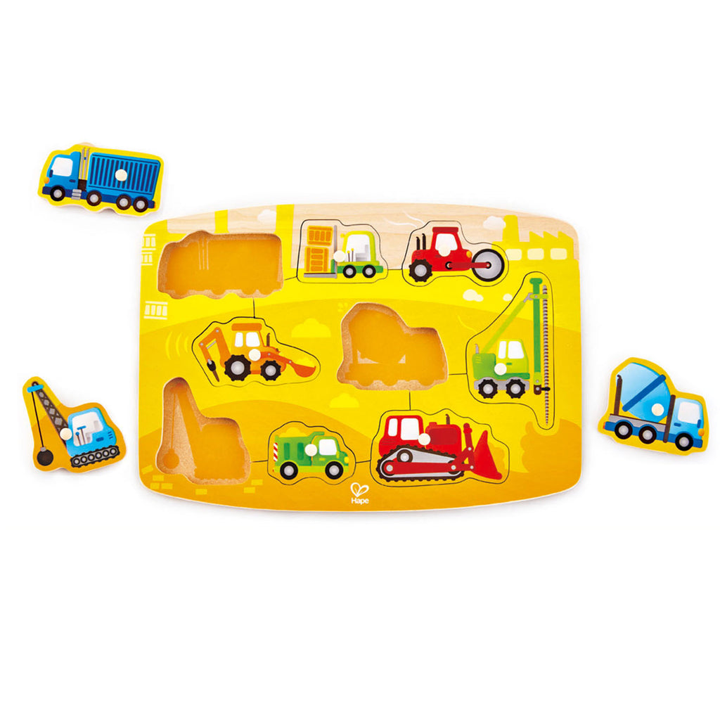Hape Construction Peg Puzzle wooden for little hands educational toys The Toy Wagon