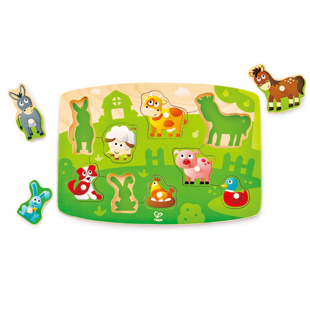 Hape Farmyard Peg Puzzle wooden for little hands educational toys The Toy Wagon