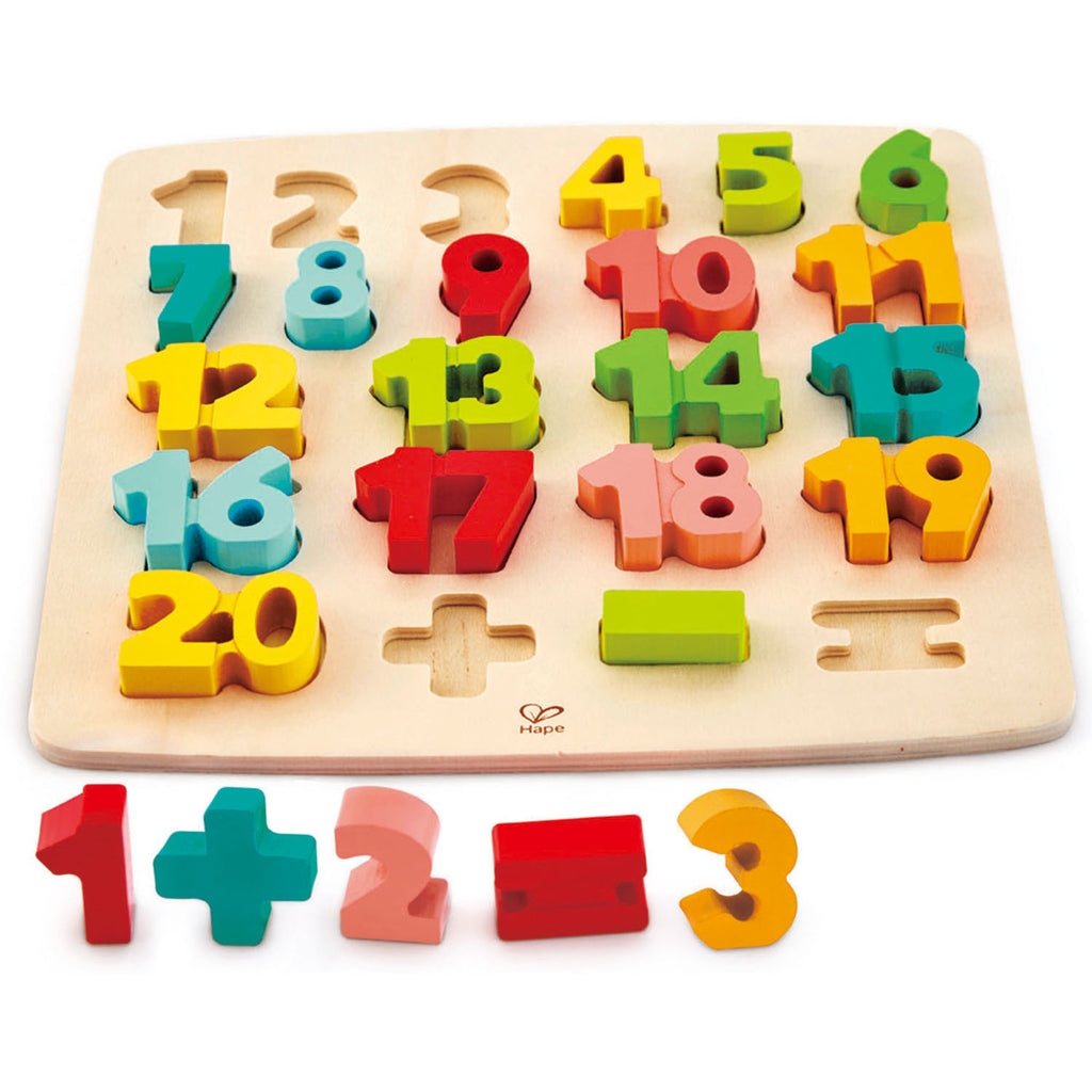 Hape Chunky Number Math Puzzle wooden for little hands educational toys The Toy Wagon