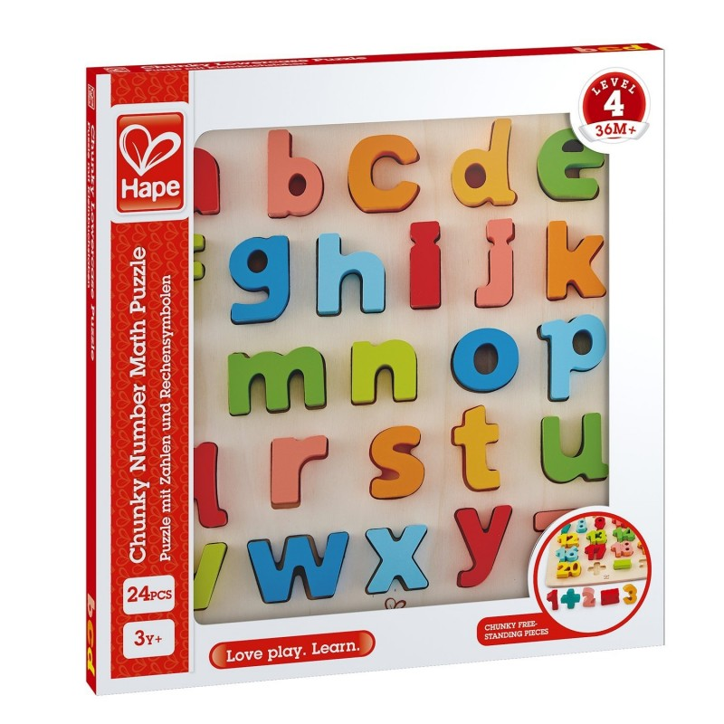 Hape Chunky Lowercase Puzzle wooden for little hands educational toys The Toy Wagon