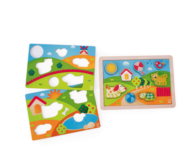 Hape Sunny Valley Puzzle 3 in 1 wooden for little hands educational toys The Toy Wagon