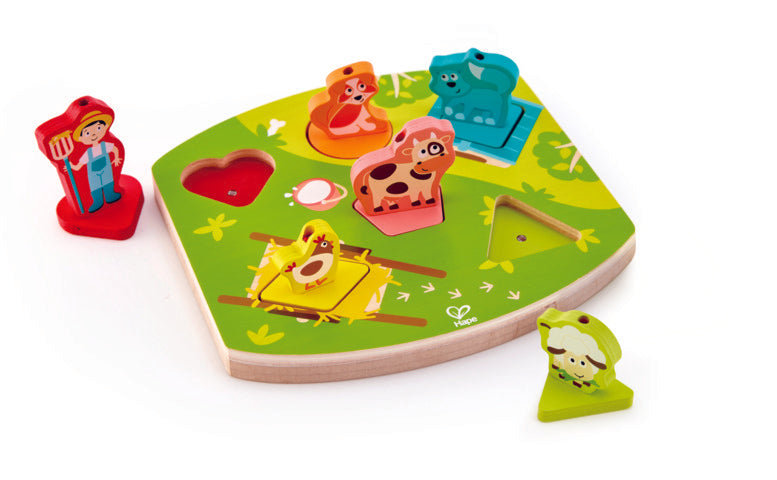 Hape Farmyard Sound Puzzle wooden for little hands educational toys The Toy Wagon