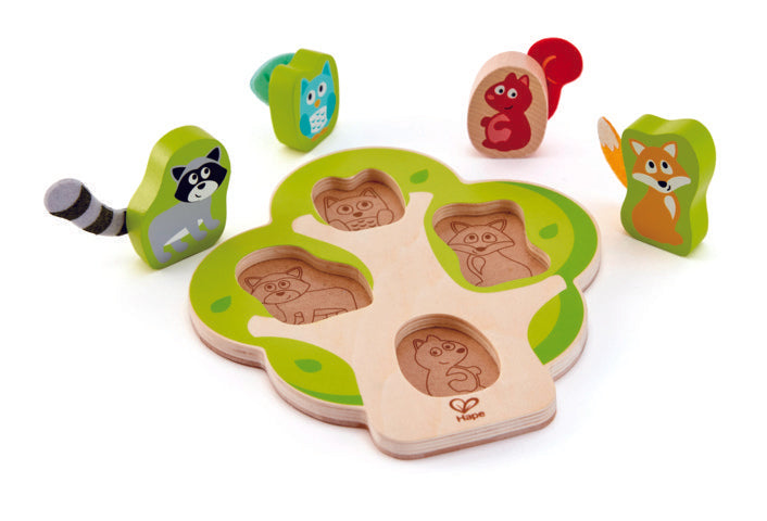 Hape Whos In The Tree Puzzle wooden for little hands educational toys The Toy Wagon