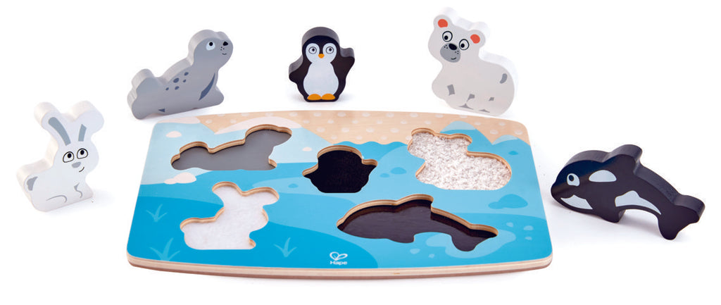 Hape Polar Animal Tactile Puzzle wooden for little hands educational toys The Toy Wagon
