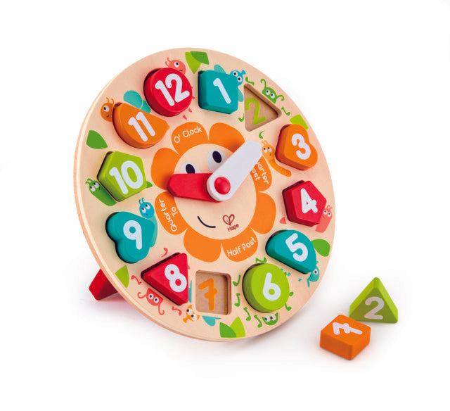 Hape Chunky Clock Puzzle wooden for little hands educational toys The Toy Wagon