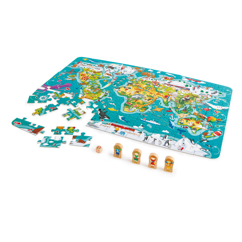 Hape 2 in1 World Map Puzzle wooden for little hands educational toys The Toy Wagon