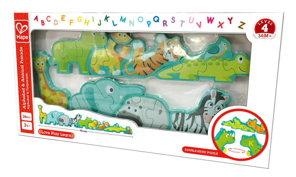 Hape Alphabet & Animal Parade Puzzle wooden for little hands educational toys The Toy Wagon