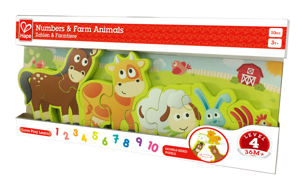 Hape Numbers & Farm Animals Puzzle wooden for little hands educational toys The Toy Wagon