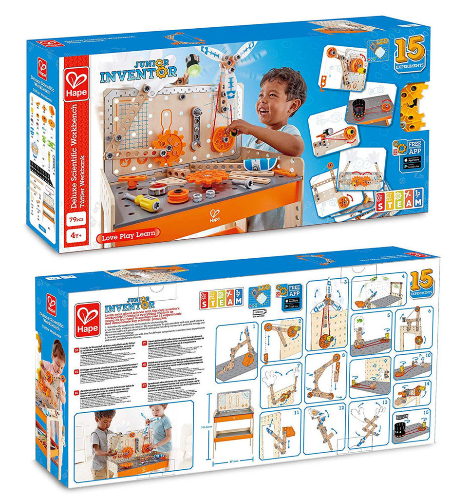Hape Junior Inventor Deluxe Scientific Workbench STEAM educational construction toys The Toy Wagon