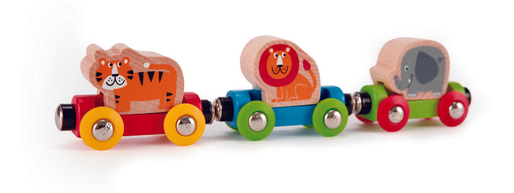 Hape Jungle Journey Train is wooden railway and train set The Toy Wagon
