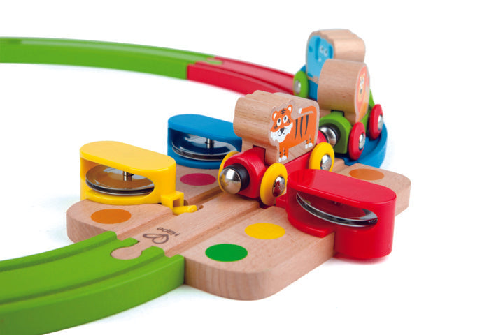 Hape Rainbow Puzzle Railway is wooden railway and train set The Toy Wagon