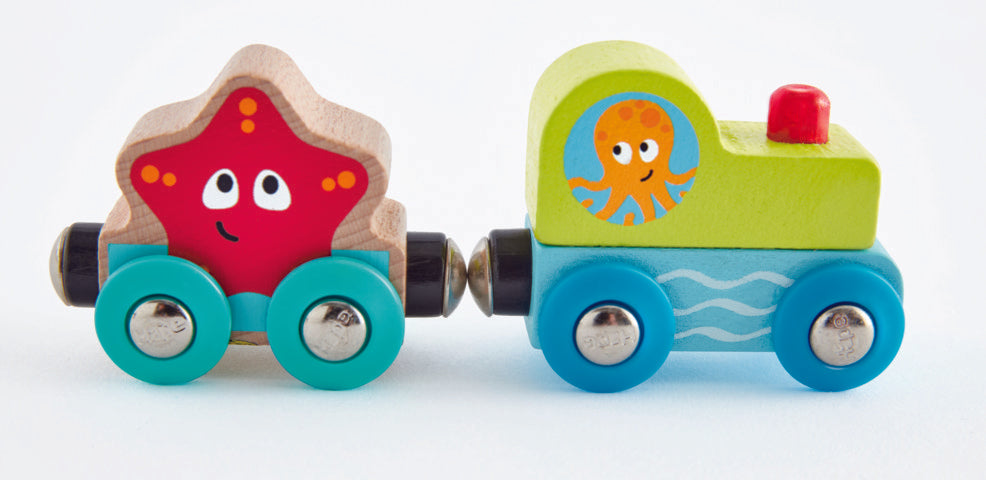 Hape Undersea Figure 8 is wooden railway and train set The Toy Wagon