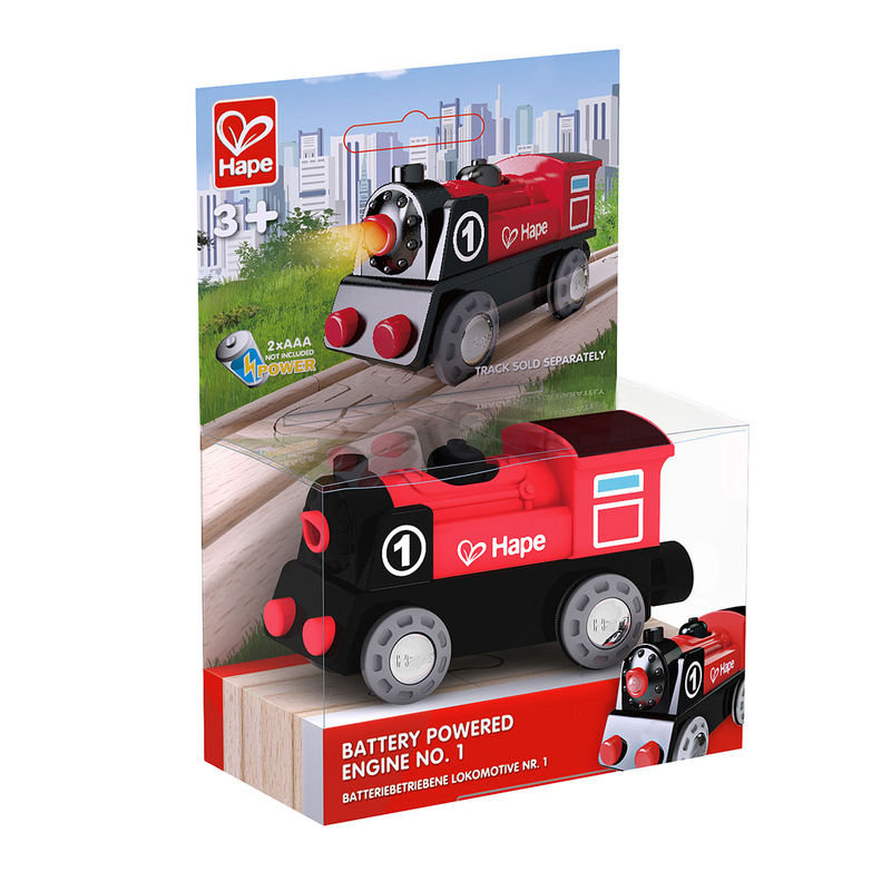 Hape Battery Powered Engine No.1 is wooden railway and train set The Toy Wagon