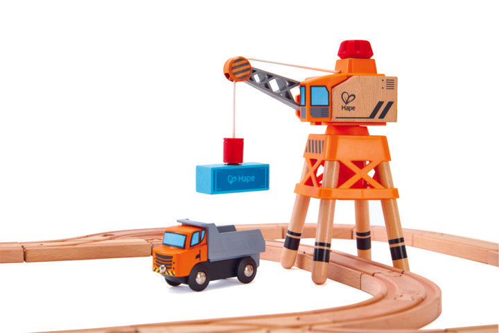 Hape Large Boom Crane is wooden railway and train set The Toy Wagon