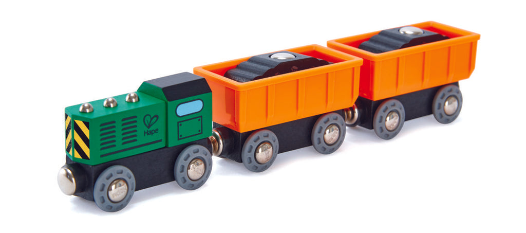 Hape Diesel Freight Train is wooden railway and train set The Toy Wagon