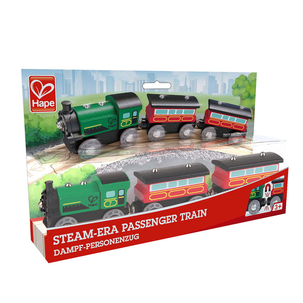 Hape Steam-Era Passenger Train is wooden railway and train set The Toy Wagon