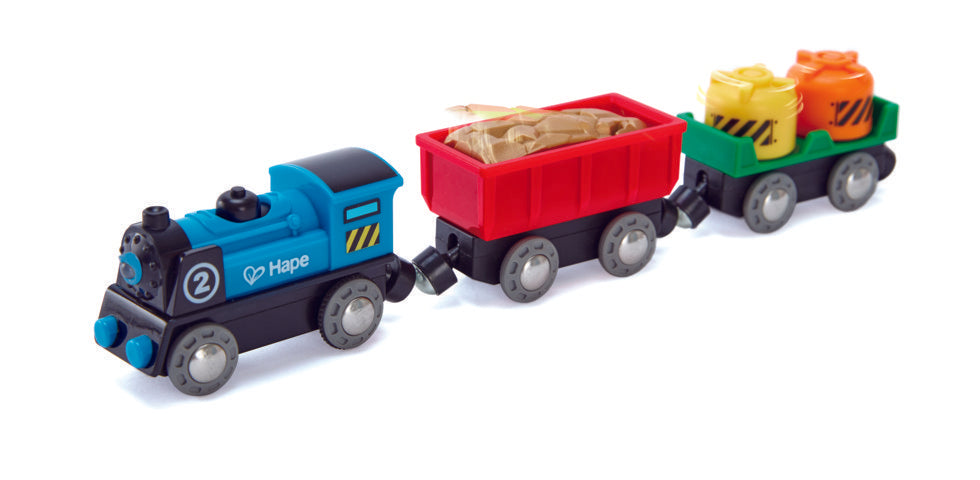 Hape Battery Powered Rolling-Stock Set is wooden railway and train set The Toy Wagon