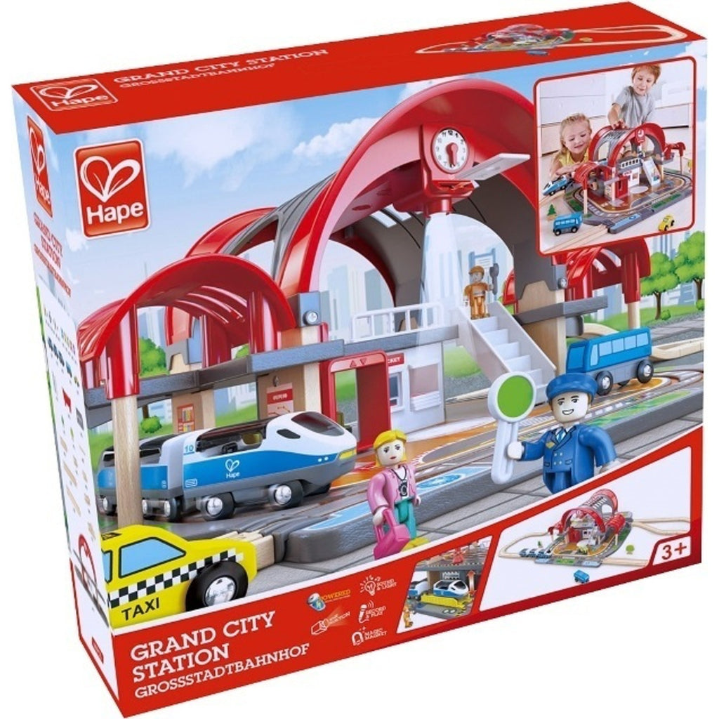 Hape Grand City Station is wooden railway and train set The Toy Wagon