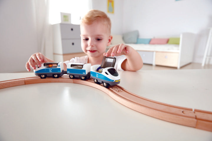 Hape Intercity Train is wooden railway and train set The Toy Wagon