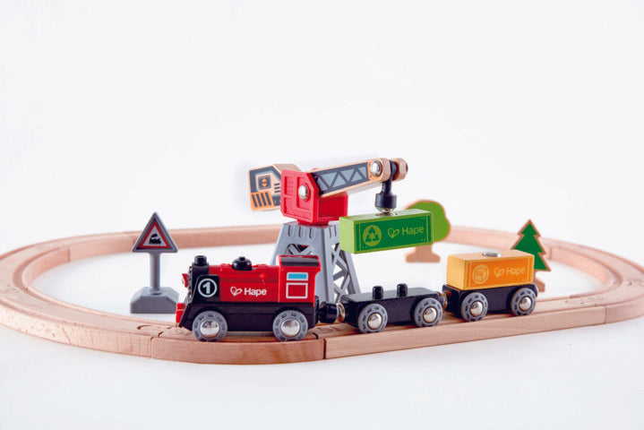 Hape Cargo Delivery Loop is wooden railway and train set The Toy Wagon