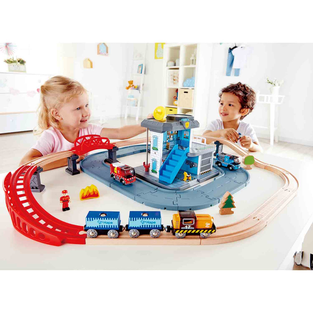 Hape Emergency Services HQ is wooden railway and train set The Toy Wagon