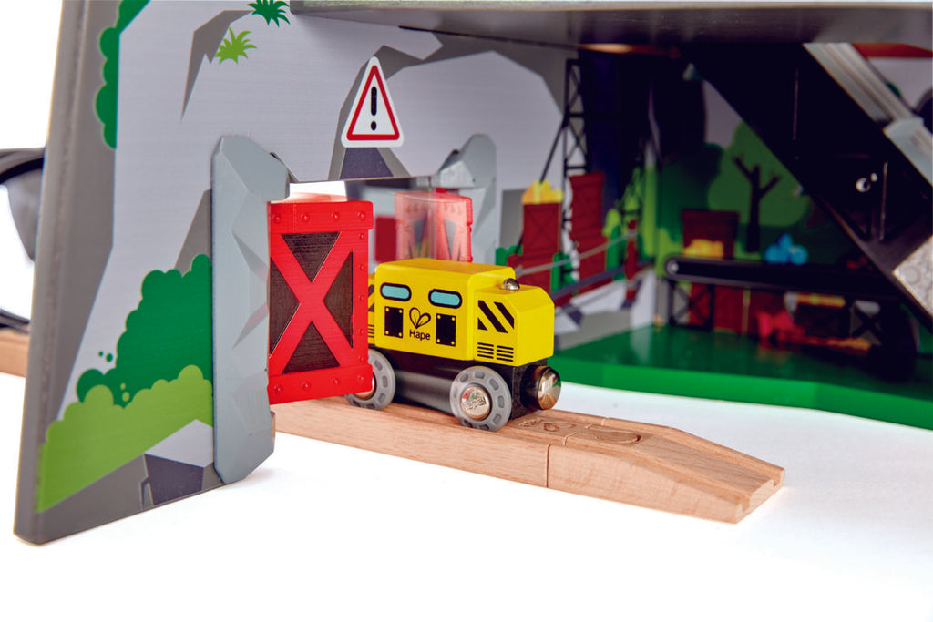 Hape Mighty Mountain Mine is wooden railway and train set The Toy Wagon