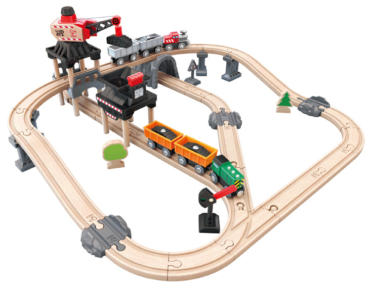 Hape Mining Loader Set is wooden railway and train set The Toy Wagon
