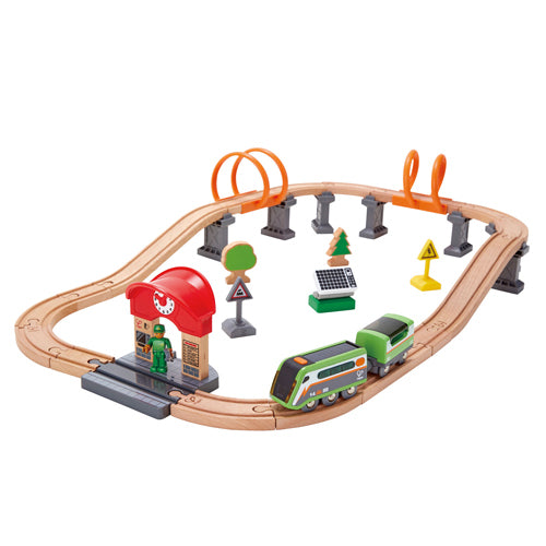 Hape Solar Power Circuit is wooden railway and train set The Toy Wagon