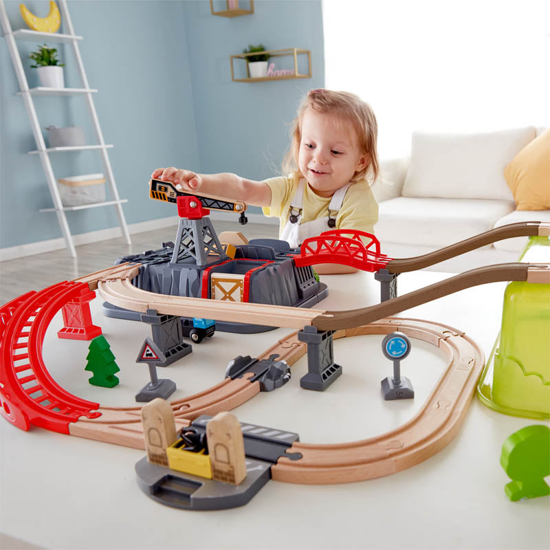 Hape Railway Bucket-Builder-Set is wooden railway and train set The Toy Wagon