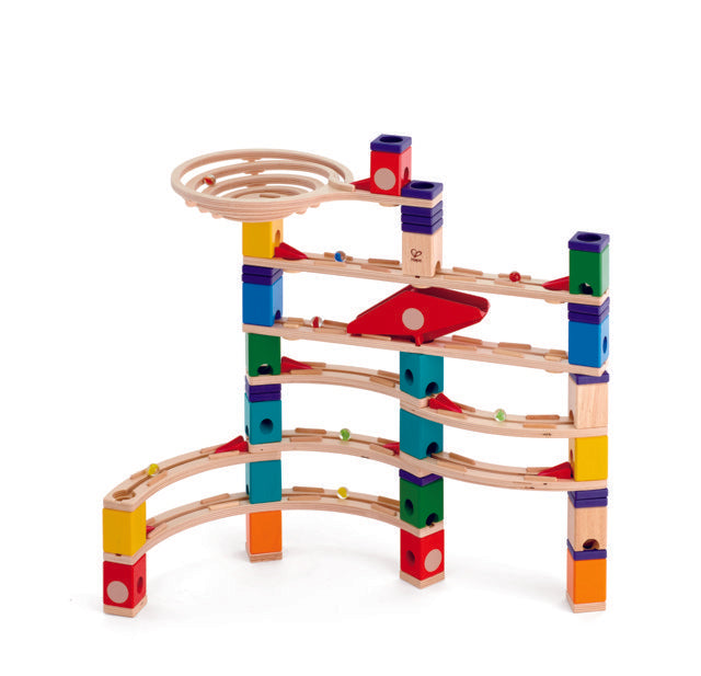 Hape Quadrilla Xcellerator wooden marble run, contruction and STEAM play The Toy Wagon