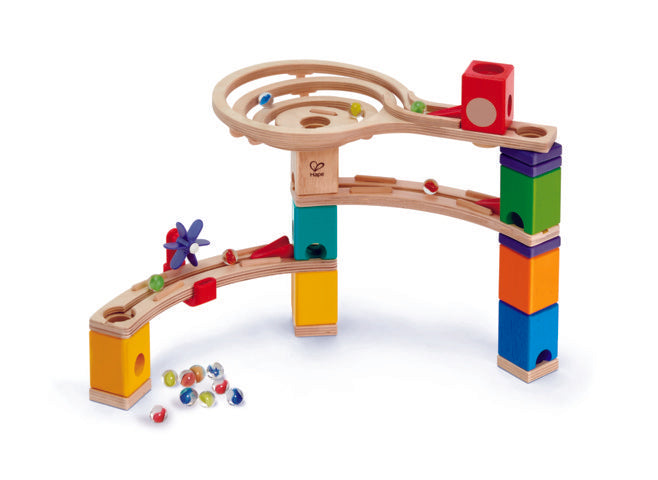 Hape Quadrilla Race to the Finish wooden marble run, contruction and STEAM play The Toy Wagon