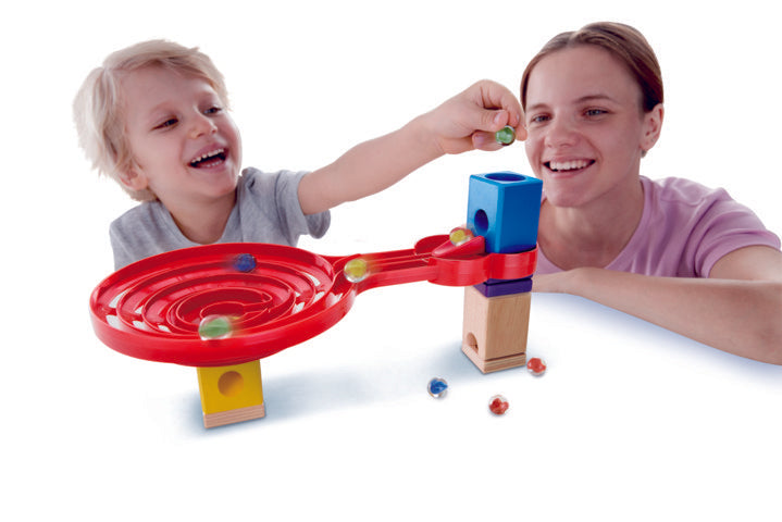 Hape Quadrilla Double-Sided Spiral Twist wooden marble run, contruction and STEAM play The Toy Wagon