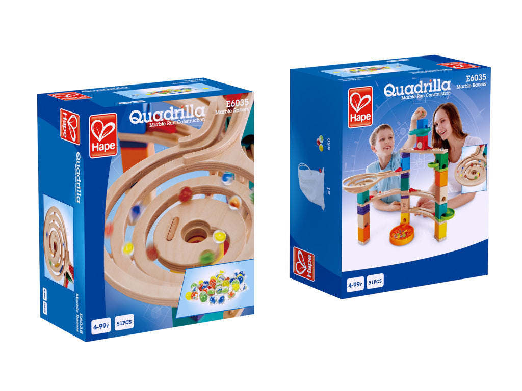 Hape Quadrilla Marble Racers wooden marble run, contruction and STEAM play The Toy Wagon